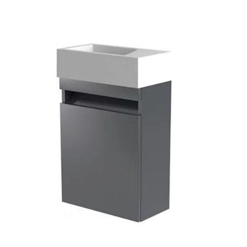 Kartell Ikon Wall Mounted Cloakroom Vanity Unit With Basin - 400mm - Grey - Right Handed